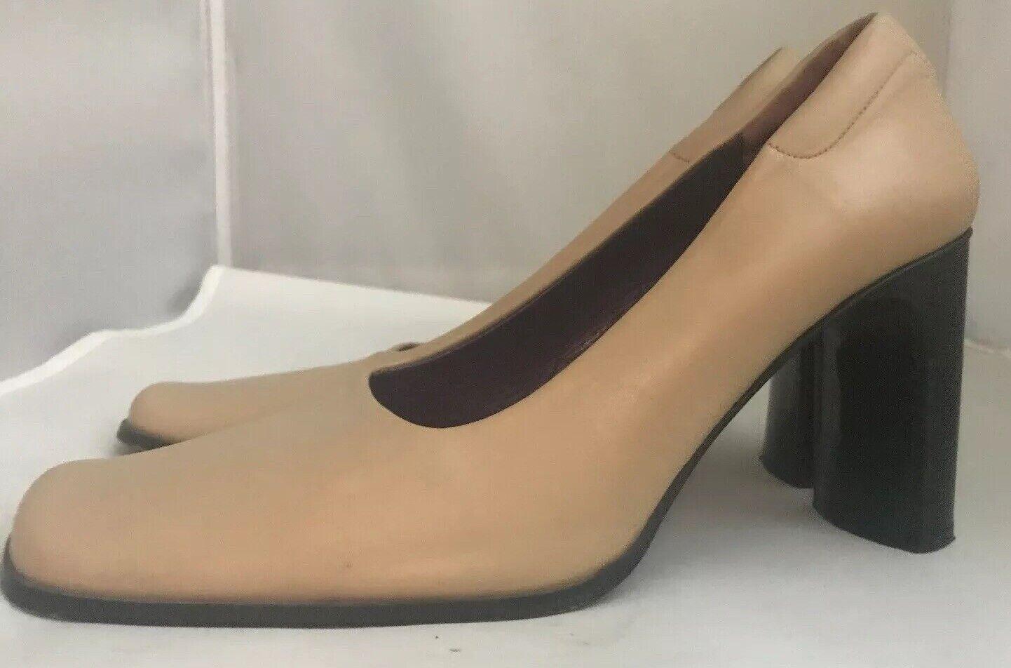 Luzia Mirnar Women's Tan Leather Square Toe Pumps… - image 4