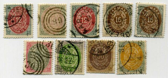 Denmark stamps Scott #29, 29b, 29c, 30, 30b, 31-34--Some high catalog values