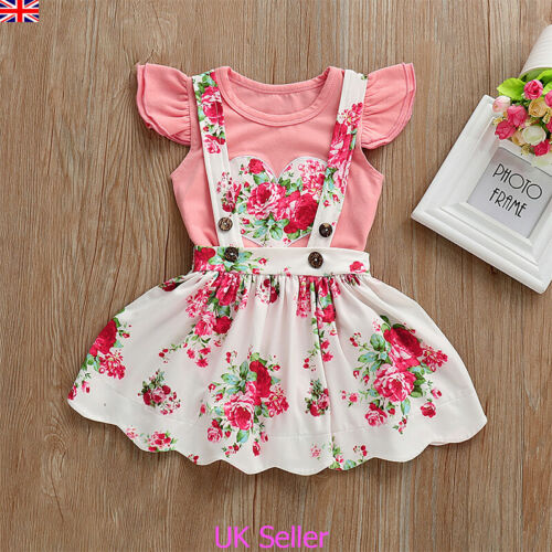 Newborn Baby Girls Floral Clothes Fly Sleeve Romper Jumpsuit Dress Skirt Outfits