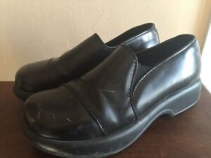 DANSKO-Womens-Black-Leather-Clogs-Slip-On-Chunky-Comfy-Shoes-Sz-40-9-5-10
