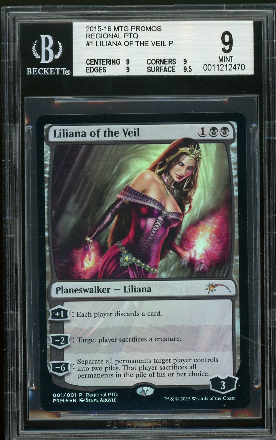 Liliana från Veil folie - RPTQ, BGS 9 MINT.MTG (pop 1 av 4)