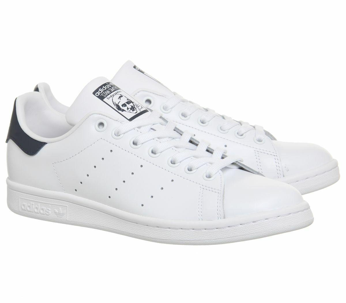 Adidas Originals Stan Smith Unisex Leather Trainers Turnschuhe Weiß Navy M20325