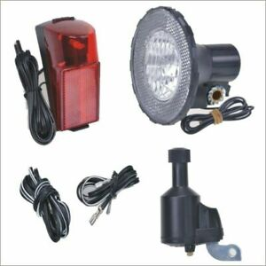 fahrrad beleuchtung set kpl dynamo frontlampe r cklicht lampe licht mit halter ebay. Black Bedroom Furniture Sets. Home Design Ideas