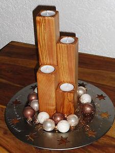 4tlg-Holz-Kerzenhalter-Teelichthalter-Tischdeko-Adventsdeko-Roteiche-natur-geoelt