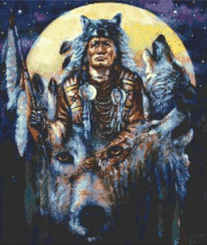 INDIAN CHIEF COUNTED CROSS STITCH CHART HOWLING WOLVES