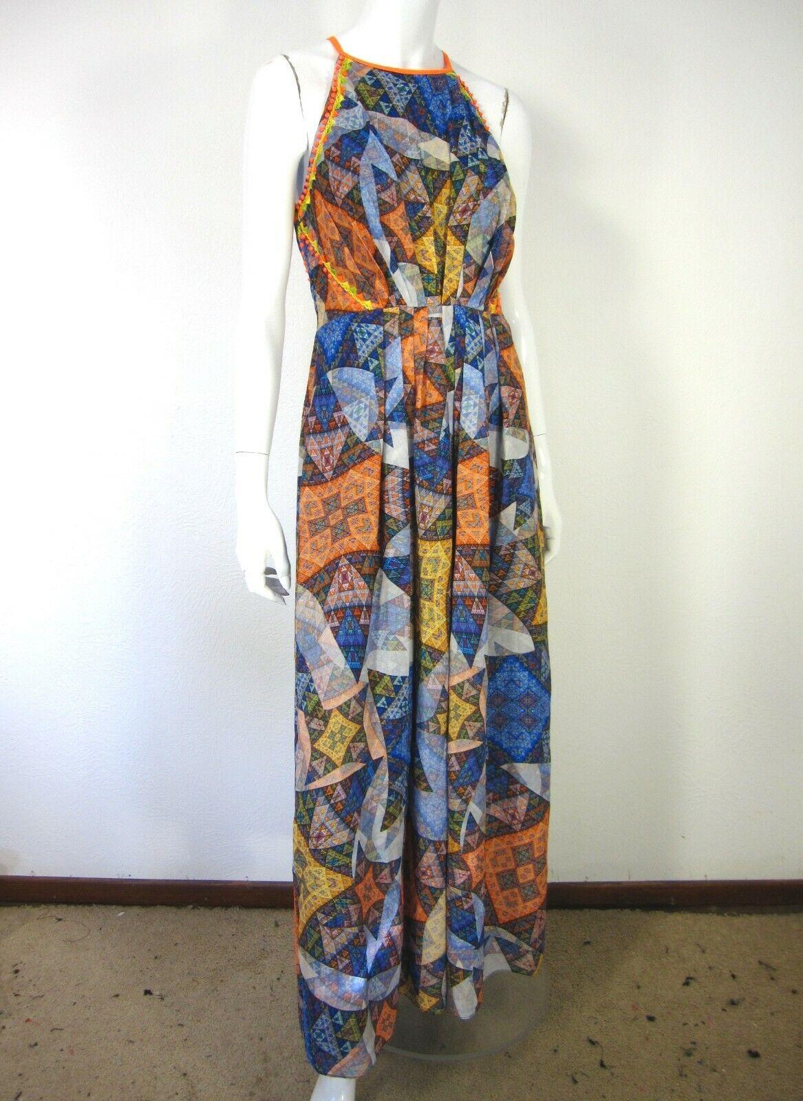 Anthropologie RANNA GiLL SLEEVELESS HALTER Neckline DRESS M MEDIUM Blau Orange N