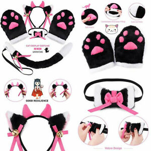 Black+white Cat Cosplay Costume Kitten Tail Ears Collar Paws Gloves One Size