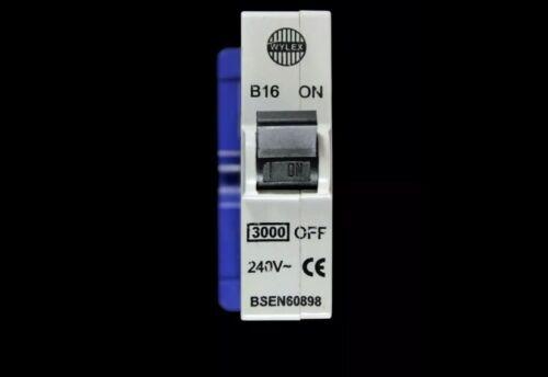 WYLEX 16 AMP TYPE B 3kA MCB CIRCUIT BREAKER PUSH PLUG IN ABB