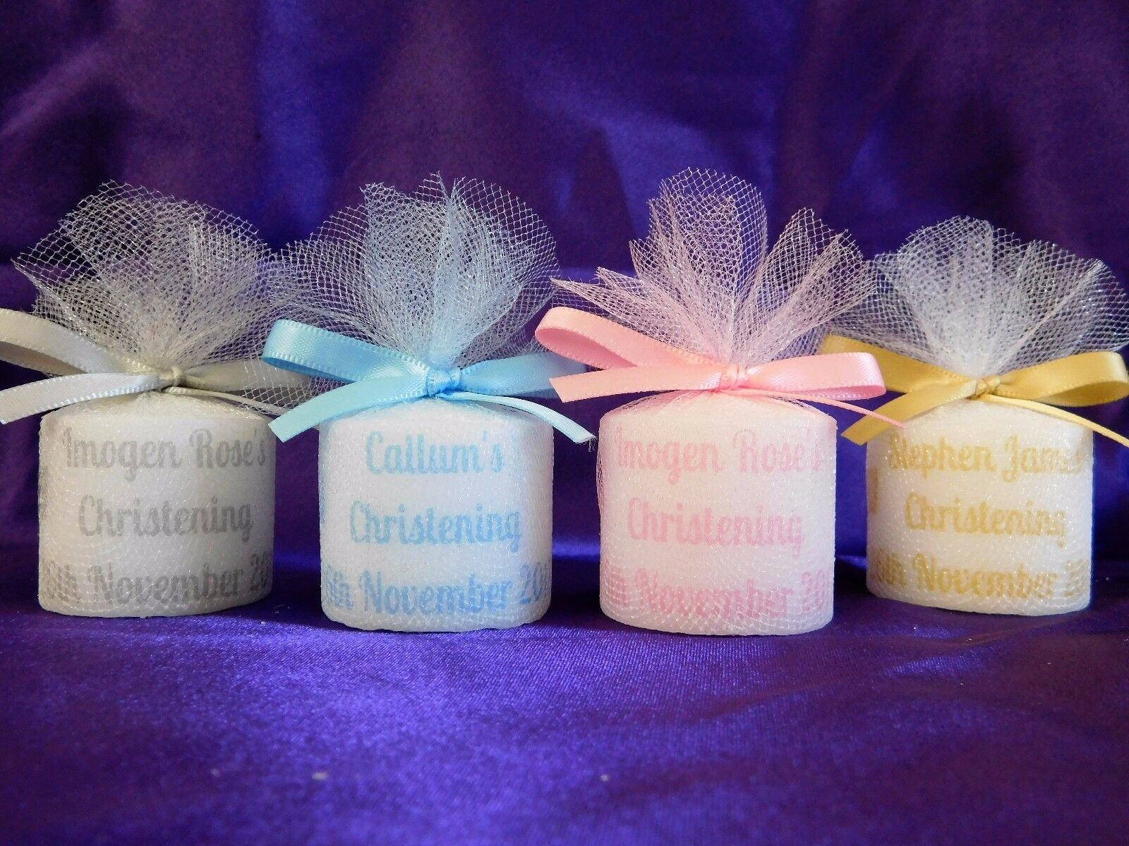 Christening Baptism Personalised Votive Candle Shimmer Effect Favours x 75