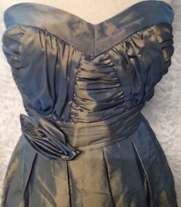 TWENTYONE Juniors Size Small Green Metallic Strapless Formal Dress Elastic Back