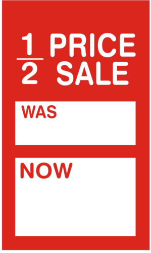100 X 95mm x 55mm 1//2 Price Sale Was Now Sale Price Cards|Tags|Tickets|Labels