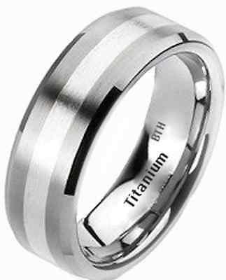 Neue Boxed Luxury 925 Sterling Silber Herren Titanium Hochzeit Verlobungsring