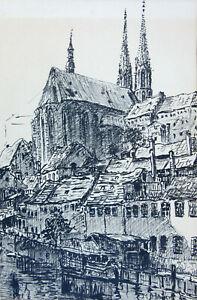 """Hager, Marie (1872 Penzlin – 1947 Burg Stargard)  """"Stadtansicht""""  Tuschzeichnung"""