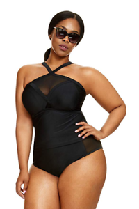 b99f4fcecce Fashion to Figure Women's Plus Size Helena Halter Mesh Tankini Top ...