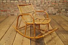 Vintage Bambus Kinderstuhl 50er Schaukelstuhl Kids Rocking-Chair Mid Century 50s