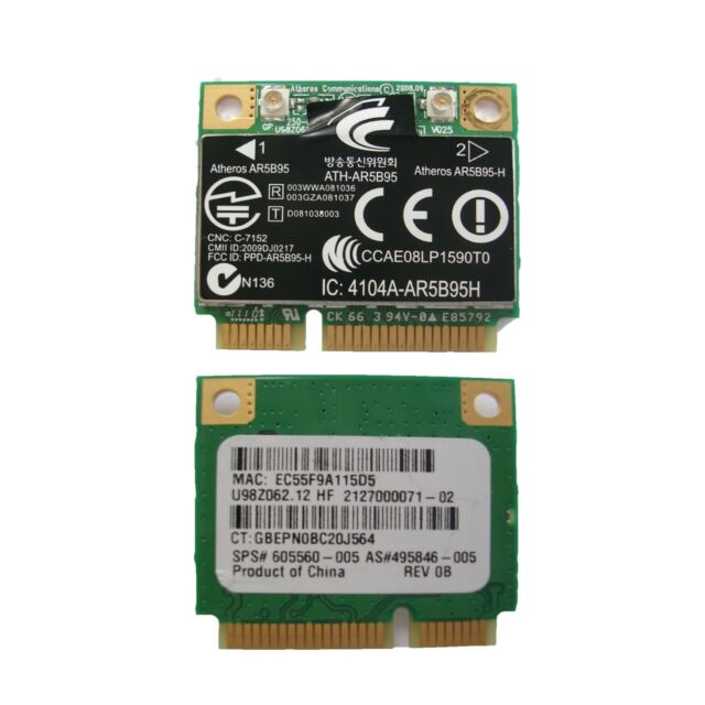 Atheros AR5B95H AR9285 802 11B/G/N Half Mini PCI-E Card for HP COMPAQ