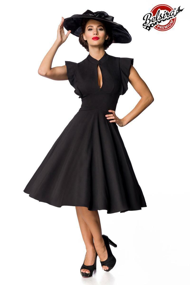 Premium Vintage-Kleid schwarz elegantes Kleid knielang Rockabilly 50er Gr S