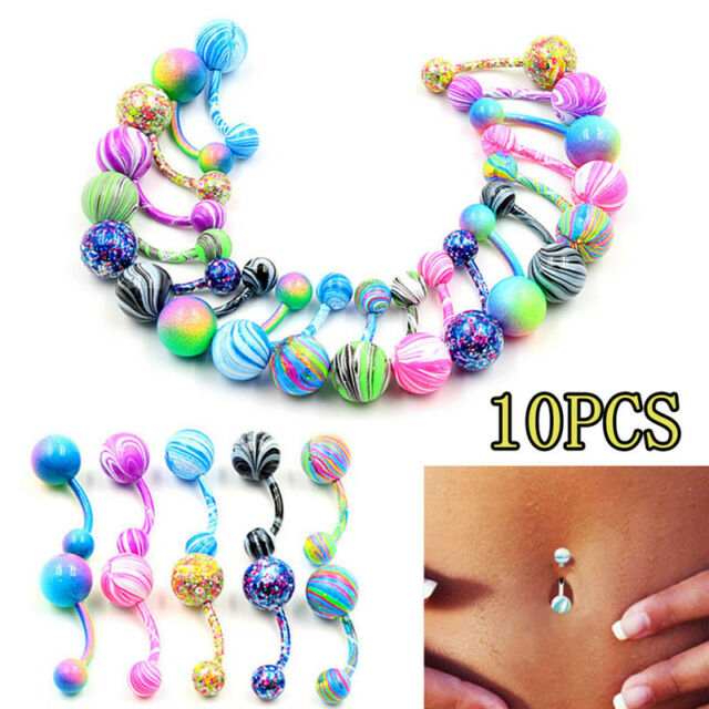 10PCS Surgical Steel Ball Barbell Navel Ring Belly Button Rings Body PiercingFEH
