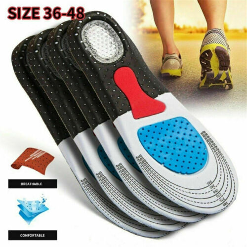 Mens Gel Orthotic Sport Running Insoles Insert Shoe Pad Mat Arch Support Cushion