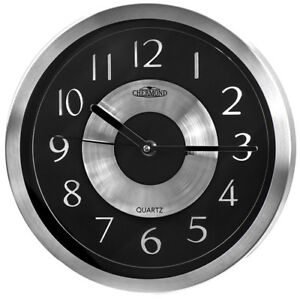 Metal-wall-clock-CHERMOND-silver-case-black-dial-quartz