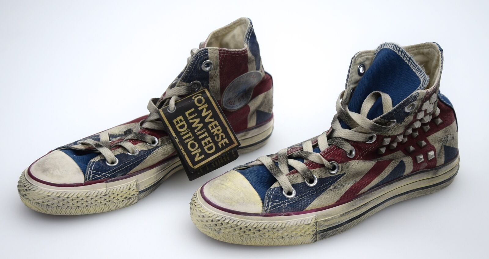 CONVERSE ALL STAR WOMAN SNEAKER SHOES CASUAL FREE TIME ENGLISH FLAG CANVAS 1C514