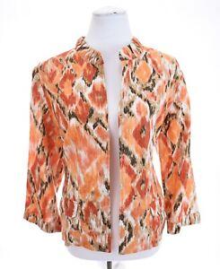Peck & Peck Metallic Shimmer ikat Aztec Linen Jacket Blazer Colorful Womens Sz L