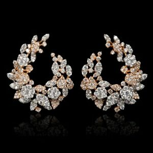Round-Brilliant-Cut-White-8-50CT-CZ-925-Two-Tone-Silver-Hinged-Hoop-Back-Earring