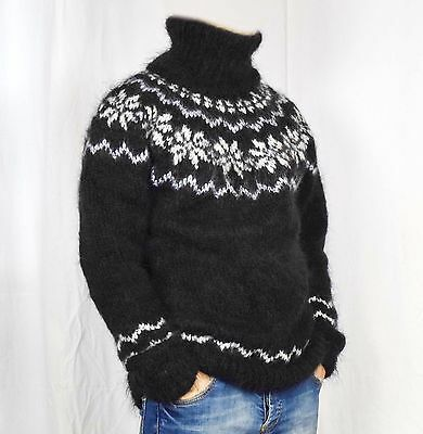 Hand knitted MOHAIR mens long sweater ICELANDIC turtlenecks, soft fuzzy pullover | eBay