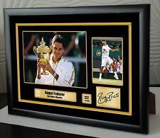 "Roger Federer Limited Edition Framed Canvas Tribute Print Signed ""Great Gift"""