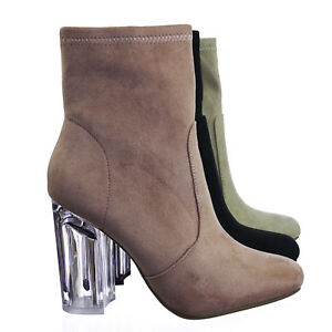 145dad8473 Linya Lucite Clear Chunky Block High Heel Dress Boots, Transparent ...