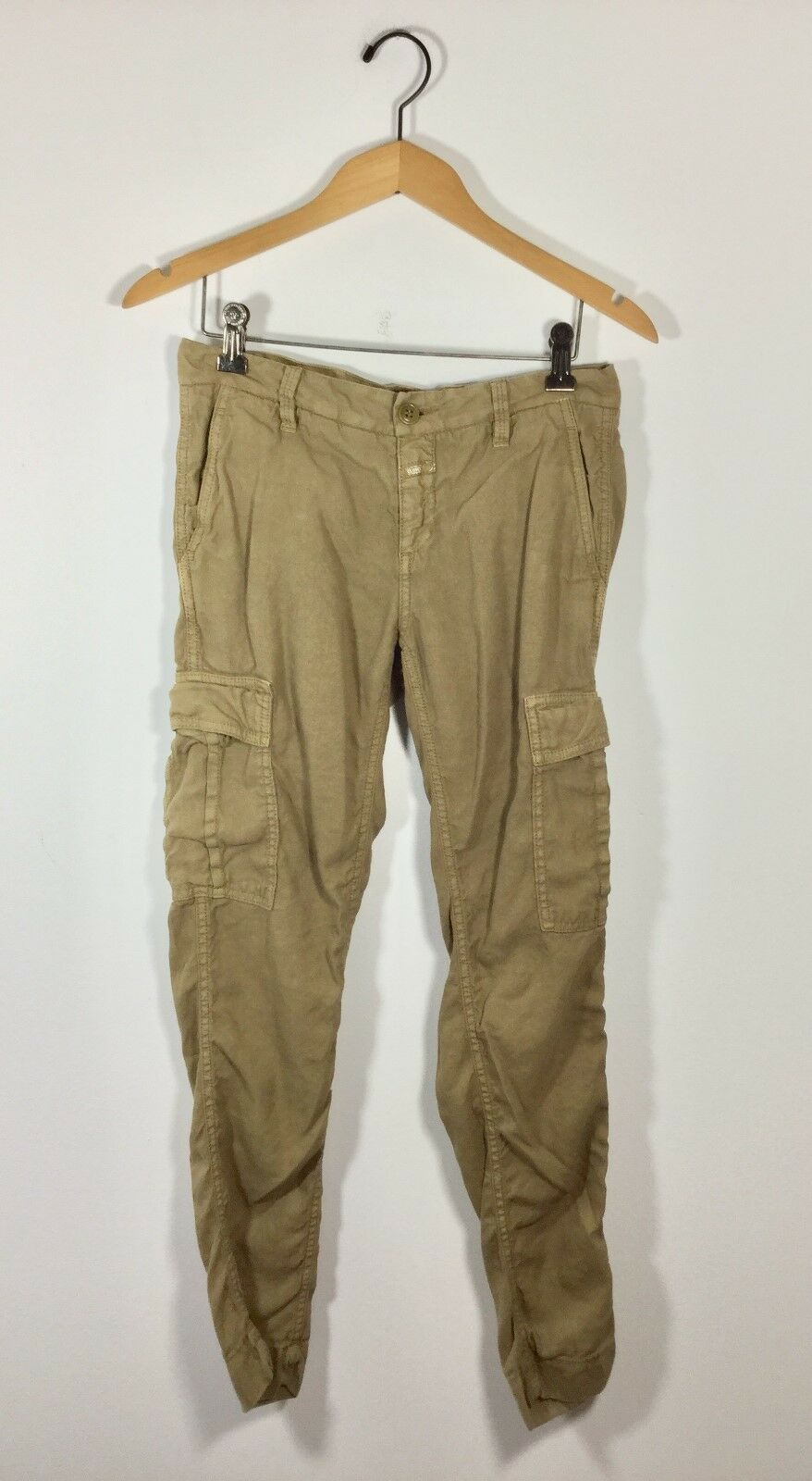 CLOSED Khaki Skinny Leg Cargo Linen Cotton Pant Size 40