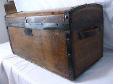 Antique 1800's Primitive Hand Made Wood Immigrant Chest Steamer Trunk Lock box