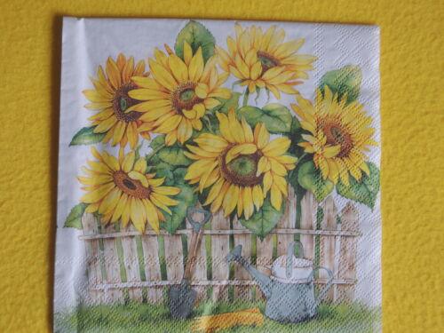 10 Servietten Sonnenblumen Gartenzaun Sunflower 1//4 Gießkanne Handschuhe Spaten