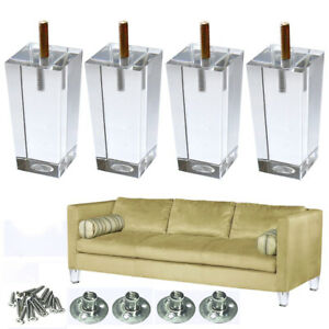 Details about Clear Sofa Legs 4\'\' Modern Furniture Legs Set of 4 For Chair  Recliner Sectional