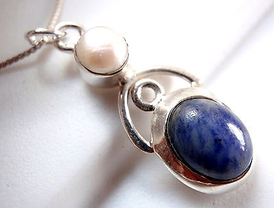 Freshwater Pearl and Sodalite Necklace 925 Sterling Silver with Arc Accent