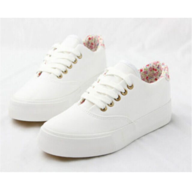 Womens Round Toe Low Top Casual Sneakers Korean Lace Up Flat Fashion Shoes  Size