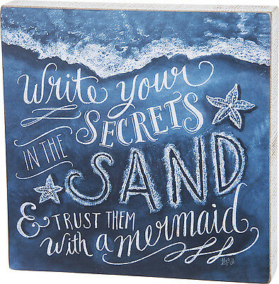 """WALL ART - """"WRITE YOUR SECRETS IN THE SAND & TRUST THEM WITH A MERMAID"""" SIGN"""