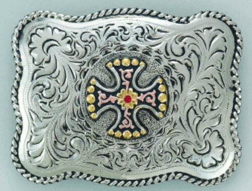 Justin Western Mens Belt Buckle Maltese Cross 8012253