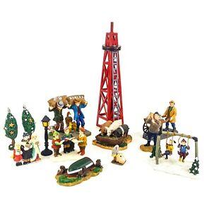 Holiday Snow Village Miniature Figurine LOT 13pc Farm Tower Boat Carolers Swings