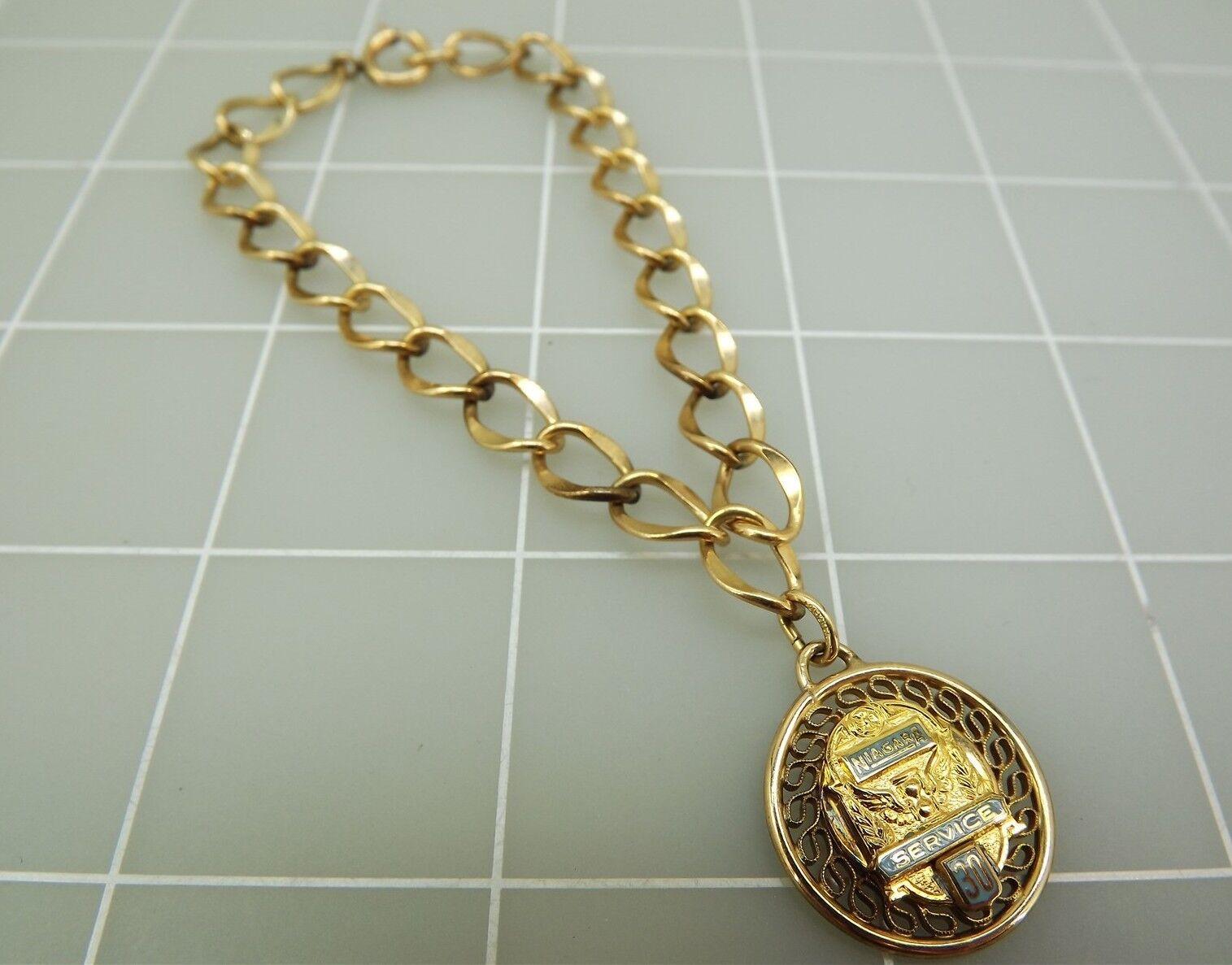 Yellow gold Filled Link Charm Bracelet W  Enamel NIAGARA SERVICE 30 YEAR Charm