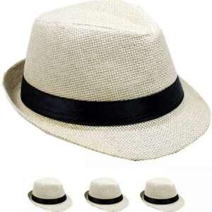 KIDS FEDORA HAT CAP STRAW KID GIRL BOY BEIGE PANAMA TRILBY HAT + ... a9be1cb58ea5