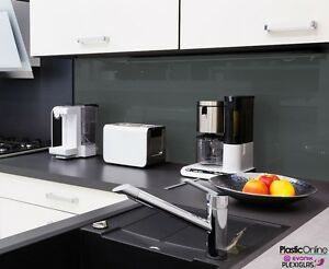 Anthracite Grey Plastic Perspex Acrylic Kitchen Bathroom Splashback - Anthracite grey kitchen