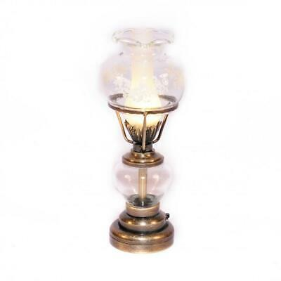 Dolls House Hanging Gold Victorian Oil Lamp Clear Etched Shade Ceiling Light