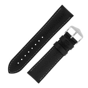 Hirsch-FOREST-Genuine-Buffalo-Calf-Leather-Watch-Strap-and-Buckle-in-BLACK
