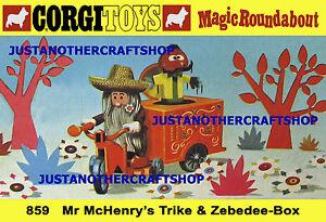Corgi-859-McHenry-039-s-Trike-Magic-Roundabout-A3-Tamano-POSTER-TIENDA-LETRERO-prospecto