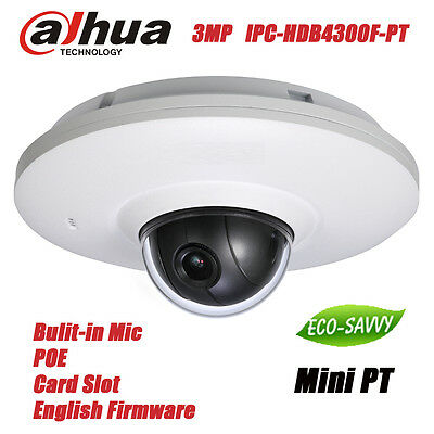 Dahua IPC-HDB4300F-PT POE 3MP Full HD Bulit-in Mic Network Mini PT Dome Camera