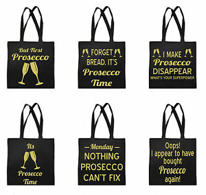 Funny Prosecco Shopping Shopper Tote Carrier Bag for Life Drink Wine