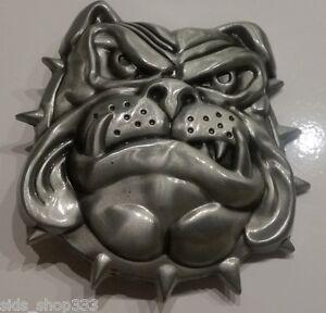 BULL-DOG-Belt-Buckle-Metal-Satin-nickel-Brushed-Silver-color-Bulldog-dawg