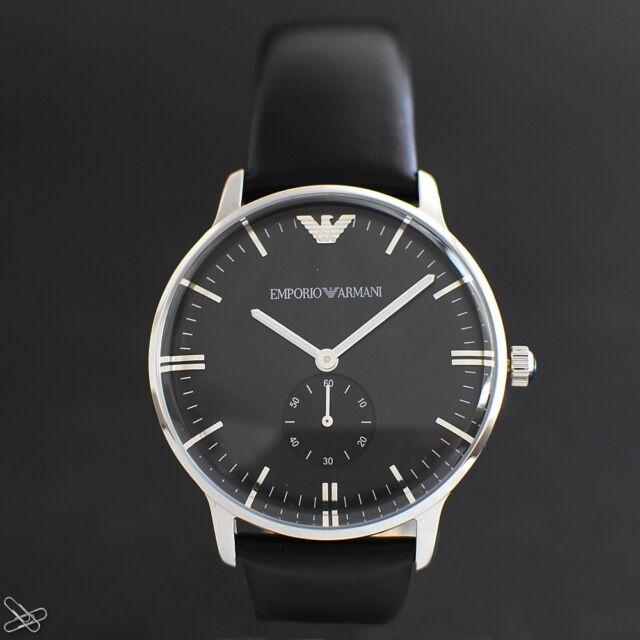 Emporio Armani Herrenuhr AR0382 Echt Leder Farbe: Schwarz