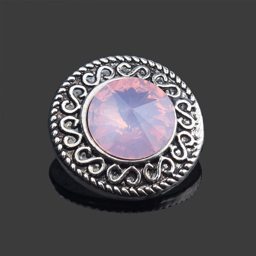3D 18mm Rhinestone Drill Snaps Chunk Charm Button  For Noosa Leather Bracelets17
